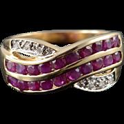 10K 1.03 CTW Ruby Diamond Band Criss Cross Weave Ring Size 6.75 Yellow Gold