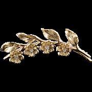 14K 0.04 CTW Diamond Flower Bar 54mm Pin/Brooch Yellow Gold
