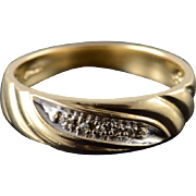 10K 5 Genuine Diamond Inset Men's Wedding Band Ring Size 10 Yellow Gold