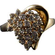 14K 1 CTW CZ Cluster Ring Size 6.75 Yellow Gold