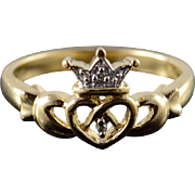 10K Diamond Claddagh Irish Heart Love Band Ring Size 5 Yellow Gold