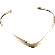 14K Heavy Sigi Tasco Solid Overlap Cuff Necklace Yellow Gold