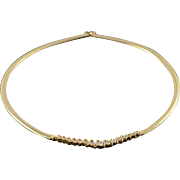 "14K 1.00 CTW Diamond Graduated Omega Necklace 16"" Yellow Gold"
