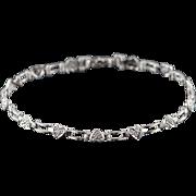 """10K Genuine Diamond Heart Link Bracelet 7"""" White Gold"""