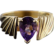 10K 1.75 CT Pear Amethyst Solitaire Scallop Ring Size 10 Yellow Gold