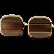 14K Retro Textured Striped Heavy Cuff Links Yellow Gold