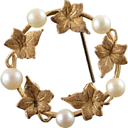 14K 4.5mm Pearl Leaf Circle Pin/Brooch Yellow Gold