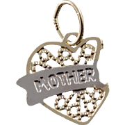 14K Filigree Mom Mother Heart Two Tone Charm/Pendant Yellow Gold