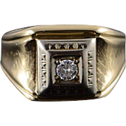10K 0.20 CTW Diamond Inset Two Tone Fancy Carved Bezel Men's Ring Size 9 Yellow Gold