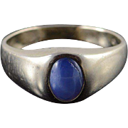 10K 0.50 CT Blue Star Sapphire* Inset Band Ring Size 6.5 White Gold