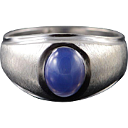 10K 1.00 CT Star Sapphire* Classic Ring Size 8 White Gold