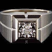 10K 0.15 CT Round Brilliant Diamond Inset Men's Bling Ring Size 9.75 White Gold