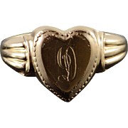 10K D' Monogram Initial Letter Engraved Heart Ring Size 5 Yellow Gold