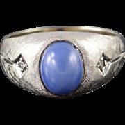 10K Retro 1.55 CTW Star Sapphire* Diamond Textured Men's Ring Size 10.25 White Gold