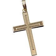 10K Engraved Hollow 3D Cross Charm/Pendant Yellow Gold