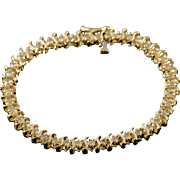 "14K 1.25 CTW Round Brilliant Diamond Tennis Bracelet 6.5"" Yellow Gold"