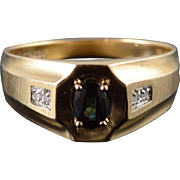 14K 0.54 CTW Sapphire Diamond Men's Band Ring Size 11 Yellow Gold