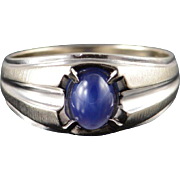 10K 1.00 CT Star Sapphire* Classic Band Ring Size 10.5 White Gold