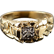 10K Round Brilliant Diamond Nugget Ring Size 10.5 Yellow Gold