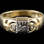 10K 0.10 CTW Diamond 3 Stone Men's Band Ring Size 10 Yellow Gold