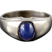10K 1.00 CT Star Sapphire* Classic Band Men's Ring Size 9.75 White Gold