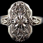 10K 1950's Genuine Diamond Filigree Engagement Ring Size 6 White Gold