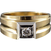10K 0.17 CT Round Brilliant Diamond Men's Statement Ring Size 10.25 Yellow Gold