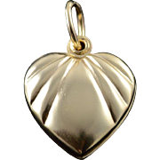 14K Hollow Puffy Heart Photo Locket Charm/Pendant Yellow Gold