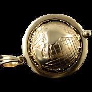 14K Heavy Spinning World Globe Travel Teacher Geography Charm/Pendant Yellow Gold