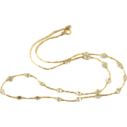 """14K Fancy Crystal Netting Feature Necklace 17.75"""" Yellow Gold"""