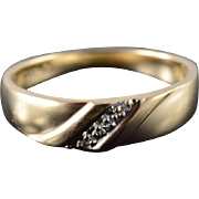 10K Genuine Diamond 3 Stone Knot Men's Wedding Band Ring Size 11 Yellow Gold
