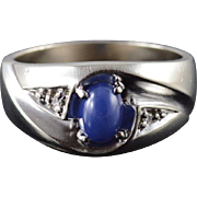 10K 0.63 CTW Blue Star Sapphire* Diamond Band Ring Size 8.75 White Gold