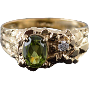 10K 1.20 CTW Green Peridot* CZ Nugget Ring Size 10.25 Yellow Gold