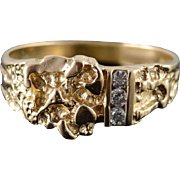 14K 0.15 CTW Diamond Inset Nugget Band Men's Ring Size 11.75 Yellow Gold