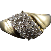 14K 0.25 CTW Diamond Cluster Ring Size 6.75 Yellow Gold