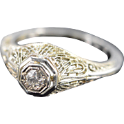 14K 0.15 Ct Round Diamond Filigree Engagement Ring Size 5.25 White Gold