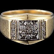 14K 0.10 CTW Diamond Cluster Men's Bling Ring Size 9.75 Yellow Gold