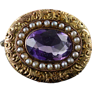 10K Victorian Amethyst Seed Pearl Halo Engraved Oval Pin/Brooch Yellow Gold