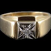 10K 0.08 CT Diamond Two Tone Wedding Band Men's Ring Size 10.75 Yellow Gold