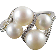 14K 4 Pearl 0.10 CTW Diamond Wrapped Ring Size 6 White Gold