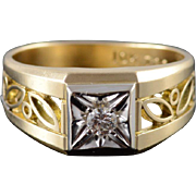 10K 0.15 CT Round Diamond Scroll Filigree Cut Out Band Men's Ring Size 9 Yellow Gold