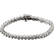 "14K 2.00 CTW Round Diamond Tennis Bracelet 7"" White Gold"
