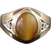 10K 3.00 CTW Tigers Eye Diamond Band Ring Size 10 Yellow Gold