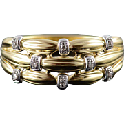 18K 0.03 CTW Diamond Knotted Filigree Weave Band Ring Size 10.25 Yellow Gold