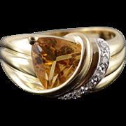 14K 2.30 CTW Citrine Diamond Trilliant Ring Size 8 Yellow Gold
