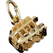 14K 3D San Francisco Trolley Train Street Car Charm/Pendant Yellow Gold
