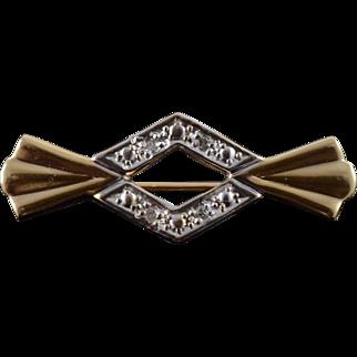 14K 0.02 CTW Diamond Bow Cut 21mm Bar Pin/Brooch Yellow Gold