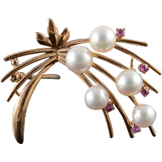 14K 1960's Retro 6mm Pearl Red Stone Flower Motif Pin/Brooch Yellow Gold