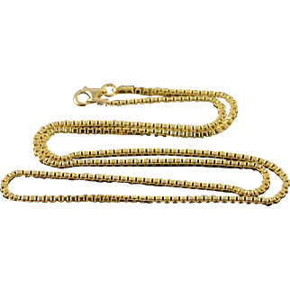 """14K 1.9mm Box Link Chain Necklace 19.75"""" Yellow Gold"""