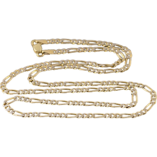 """14K 2.9mm Textured Figaro Link Chain Necklace 20.75"""" Yellow Gold"""